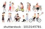 set of couple in love.... | Shutterstock . vector #1013145781