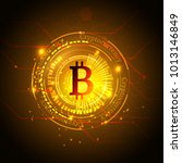 bitcoin symbol and price chart. ... | Shutterstock .eps vector #1013146849