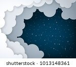 paper art fluffy clouds and... | Shutterstock .eps vector #1013148361