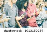 multicultural friends group... | Shutterstock . vector #1013150254