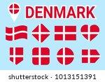 denmark flag vector set.... | Shutterstock .eps vector #1013151391