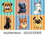 hand drawn set of six... | Shutterstock . vector #1013153305