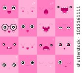 set of cute faces and emotions | Shutterstock .eps vector #1013161111