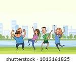 happy dancing people in city... | Shutterstock .eps vector #1013161825