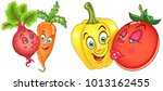 cartoon vegetables in love.... | Shutterstock .eps vector #1013162455