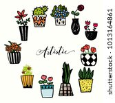 a set of hand drawn plant pots  ... | Shutterstock .eps vector #1013164861