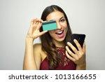 cheerful smiling girl joking... | Shutterstock . vector #1013166655