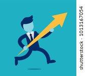 businessman runs with... | Shutterstock .eps vector #1013167054
