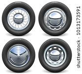 vector car tires with chrome... | Shutterstock .eps vector #1013173591