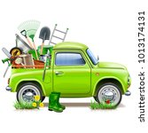 vector pickup truck with garden ... | Shutterstock .eps vector #1013174131