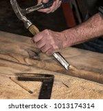 closeup of carpenter's rough... | Shutterstock . vector #1013174314