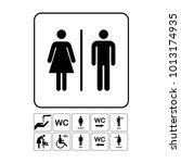 wc   toilet door plate icon.... | Shutterstock .eps vector #1013174935