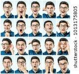 surprised guy. set of handsome... | Shutterstock . vector #1013175805