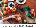 woman hand take meat burger on... | Shutterstock . vector #1013176441