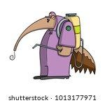 cartoon anteater doing pest... | Shutterstock .eps vector #1013177971
