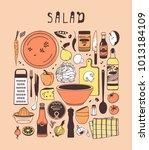hand drawn illustration food ... | Shutterstock .eps vector #1013184109