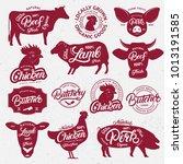 13 butchery logo  label  emblem ... | Shutterstock . vector #1013191585
