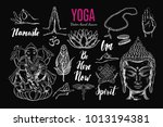 yoga set. vector isolated hand... | Shutterstock .eps vector #1013194381