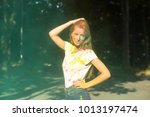 pretty young woman playing with ...   Shutterstock . vector #1013197474