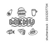 hand drawn menu for cafe with... | Shutterstock .eps vector #1013207734