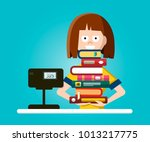 bookstore or library vector... | Shutterstock .eps vector #1013217775