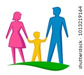 happy family on a white... | Shutterstock .eps vector #1013219164