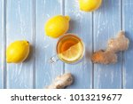a cup of ginger tea with lemon... | Shutterstock . vector #1013219677