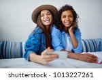 portrait for cheerful... | Shutterstock . vector #1013227261