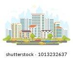 busy street life   modern... | Shutterstock .eps vector #1013232637