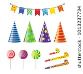 party elements   realistic... | Shutterstock . vector #1013237734
