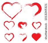 set of hearts. grunge stamps... | Shutterstock .eps vector #1013245321