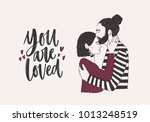 man embracing and kissing woman ... | Shutterstock .eps vector #1013248519