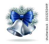 silver bells with blue ribbon... | Shutterstock . vector #1013252449