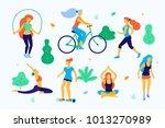women walking in the park... | Shutterstock .eps vector #1013270989