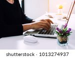 businesswoman working with... | Shutterstock . vector #1013274937