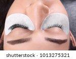young woman undergoing eyelash... | Shutterstock . vector #1013275321