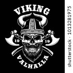 viking skull with axes  nordic... | Shutterstock .eps vector #1013281975