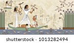 murals with ancient egypt scene.... | Shutterstock .eps vector #1013282494