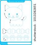kitten. preschool worksheet for ... | Shutterstock .eps vector #1013282851