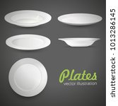 set of empty white plate on the ... | Shutterstock .eps vector #1013286145