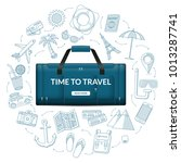 travel duffle luggage bag with... | Shutterstock .eps vector #1013287741