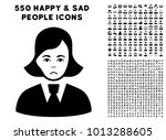 sadly clerk lady pictograph... | Shutterstock .eps vector #1013288605