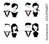 set of silhouettes couple for...   Shutterstock .eps vector #1013296807
