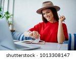 portrait of cheerful female... | Shutterstock . vector #1013308147