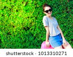portrait charming beautiful... | Shutterstock . vector #1013310271