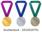 gold  silver and bronze medal.... | Shutterstock .eps vector #1013310751
