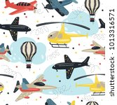 seamless pattern with cute air... | Shutterstock .eps vector #1013316571