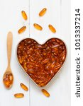 Fish Oil Capsules In A Heart...