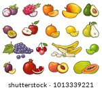 set fruits. mango  lime  banana ... | Shutterstock .eps vector #1013339221