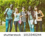 group of multi ethnic teenagers ... | Shutterstock . vector #1013340244
